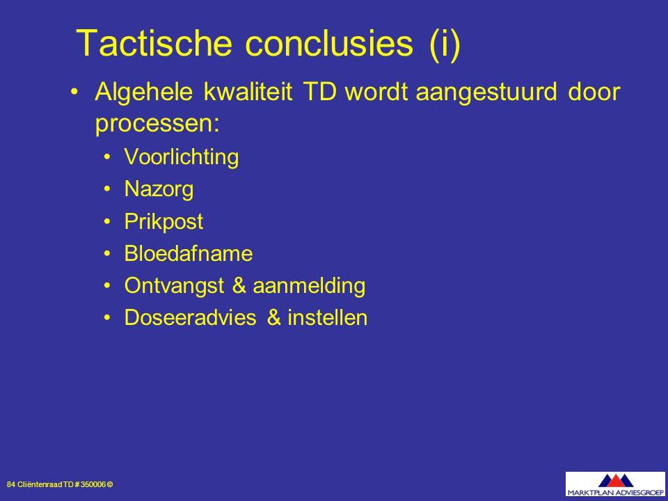 84 Cliëntenraad TD # 350006 © Tactische conclusies (i) Algehele kwaliteit TD wordt aangestuurd door processen: Voorlichting Nazorg Prikpost Bloedafname Ontvangst & aanmelding Doseeradvies & instellen