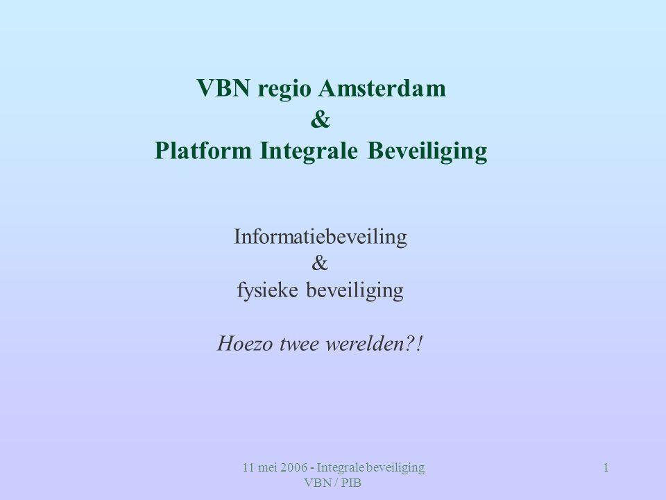 11 mei 2006 - Integrale beveiliging VBN / PIB 1 VBN regio Amsterdam & Platform Integrale Beveiliging Informatiebeveiling & fysieke beveiliging Hoezo t