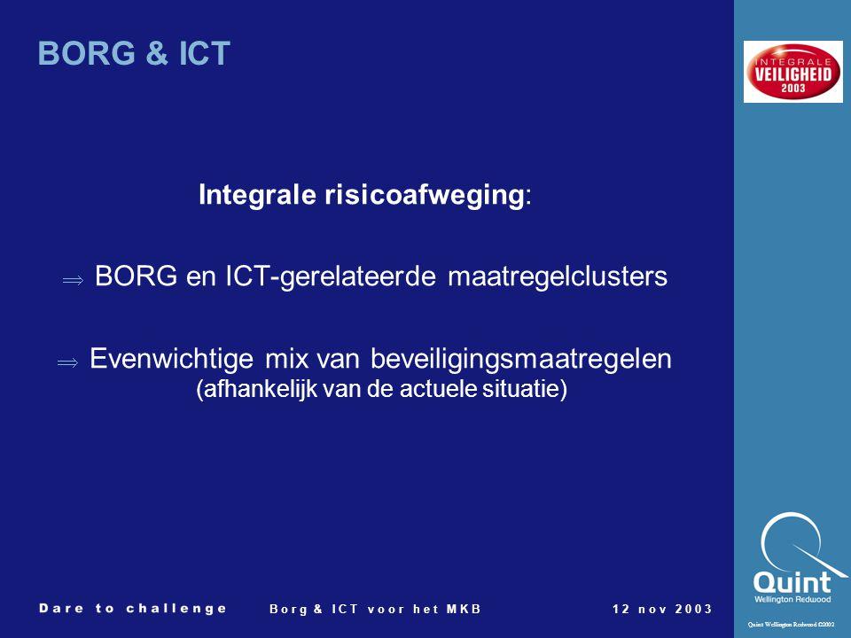 Quint Wellington Redwood ©2002 B o r g & I C T v o o r h e t M K B1 2 n o v 2 0 0 3 BORG & ICT Integrale risicoafweging:  BORG en ICT-gerelateerde ma