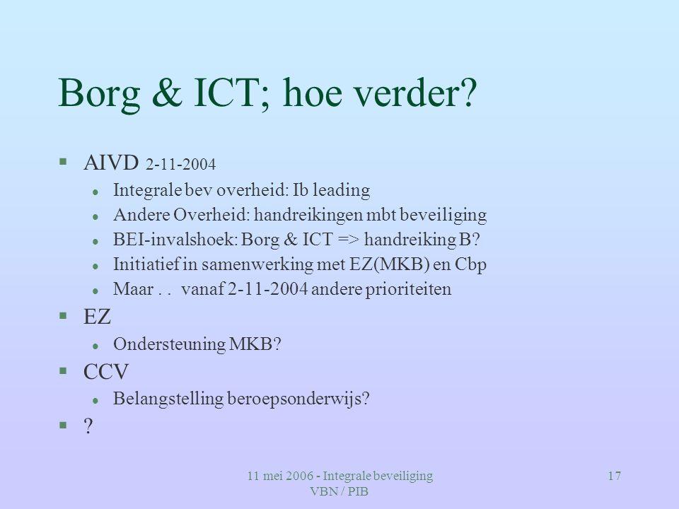 11 mei 2006 - Integrale beveiliging VBN / PIB 17 Borg & ICT; hoe verder? §AIVD 2-11-2004 l Integrale bev overheid: Ib leading l Andere Overheid: handr