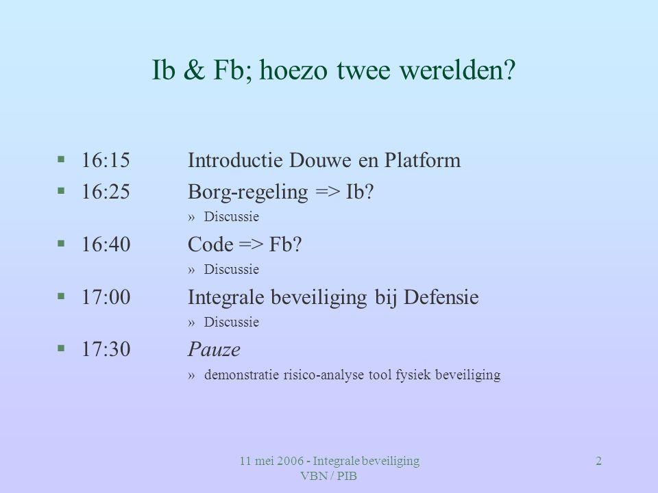 11 mei 2006 - Integrale beveiliging VBN / PIB 2 Ib & Fb; hoezo twee werelden? §16:15Introductie Douwe en Platform §16:25Borg-regeling => Ib? »Discussi