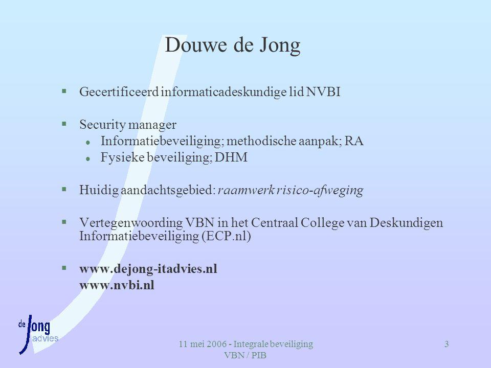 11 mei 2006 - Integrale beveiliging VBN / PIB 3 Douwe de Jong §Gecertificeerd informaticadeskundige lid NVBI §Security manager l Informatiebeveiliging