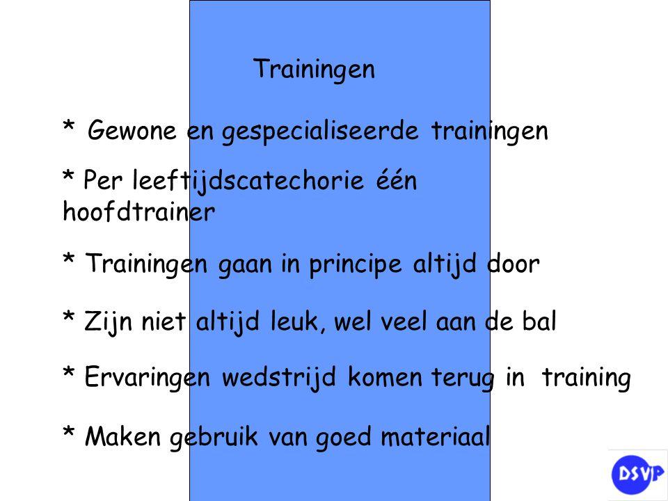 Trainingen * Gewone en gespecialiseerde trainingen * Per leeftijdscatechorie één hoofdtrainer * Trainingen gaan in principe altijd door * Zijn niet al