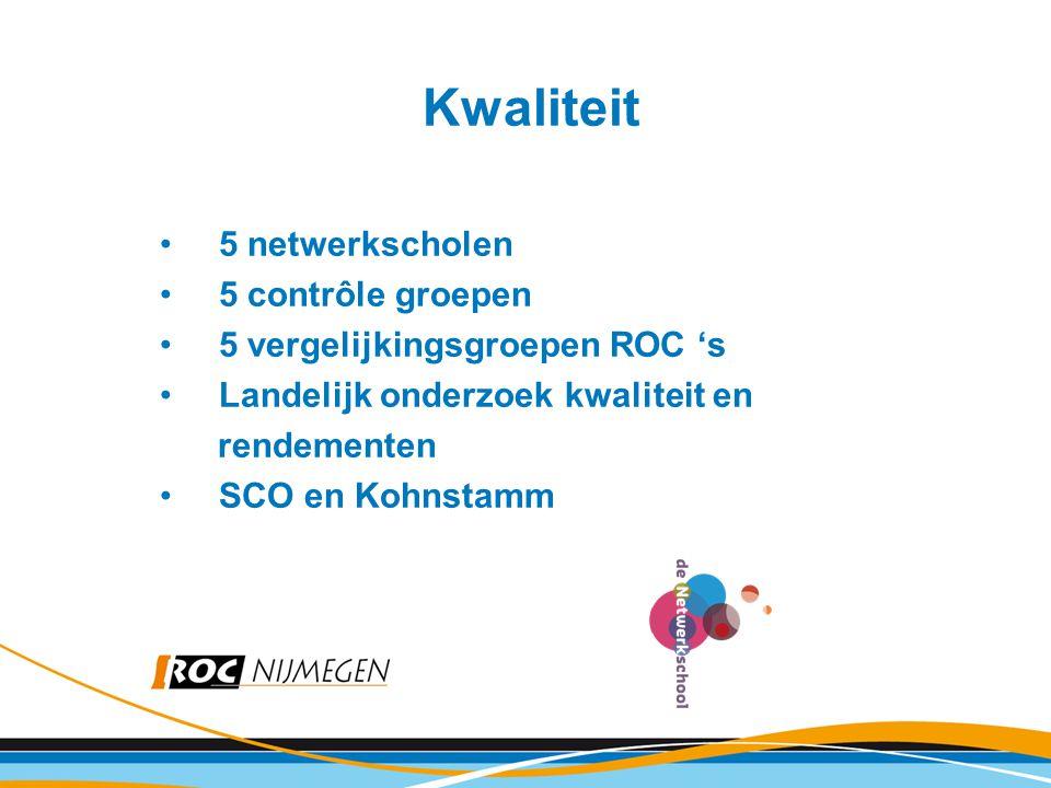Kwaliteit 5 netwerkscholen 5 contrôle groepen 5 vergelijkingsgroepen ROC 's Landelijk onderzoek kwaliteit en rendementen SCO en Kohnstamm