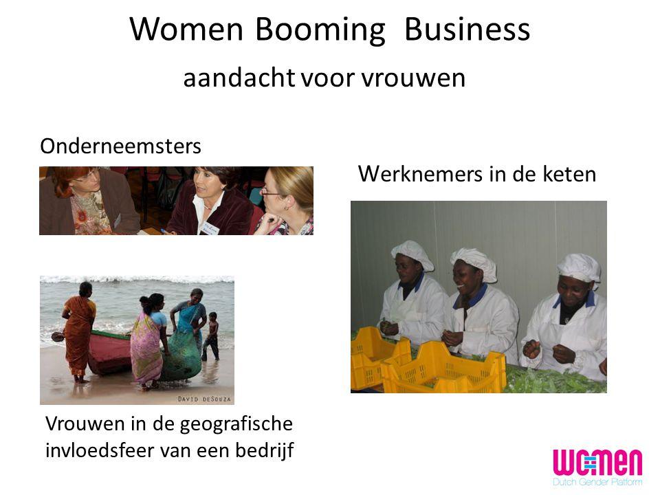 Vrouwen in de geografische invloedsfeer van een bedrijf Women Booming Business Onderneemsters W erknemers in de keten aandacht voor vrouwen