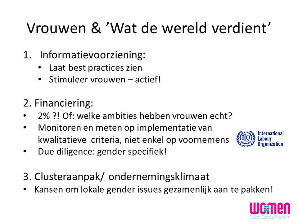 Vrouwen & 'Wat de wereld verdient' 1.Informatievoorziening: Laat best practices zien Stimuleer vrouwen – actief! 3. Clusteraanpak/ ondernemingsklimaat