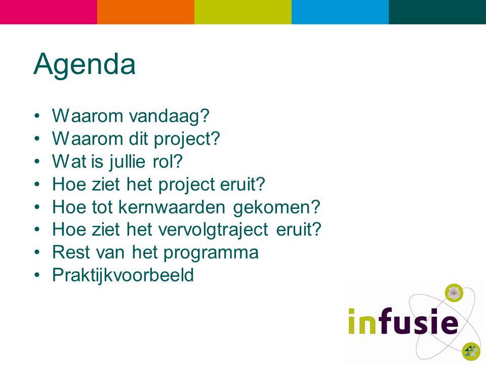 Agenda Waarom vandaag? Waarom dit project? Wat is jullie rol? Hoe ziet het project eruit? Hoe tot kernwaarden gekomen? Hoe ziet het vervolgtraject eru