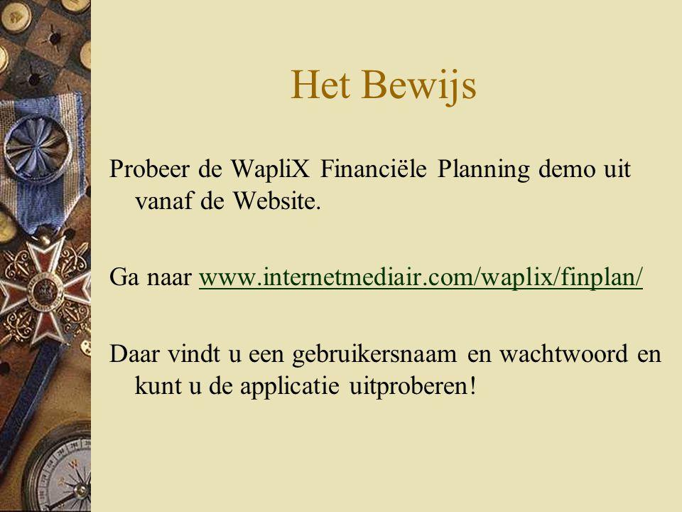Het Bewijs Probeer de WapliX Financiële Planning demo uit vanaf de Website.