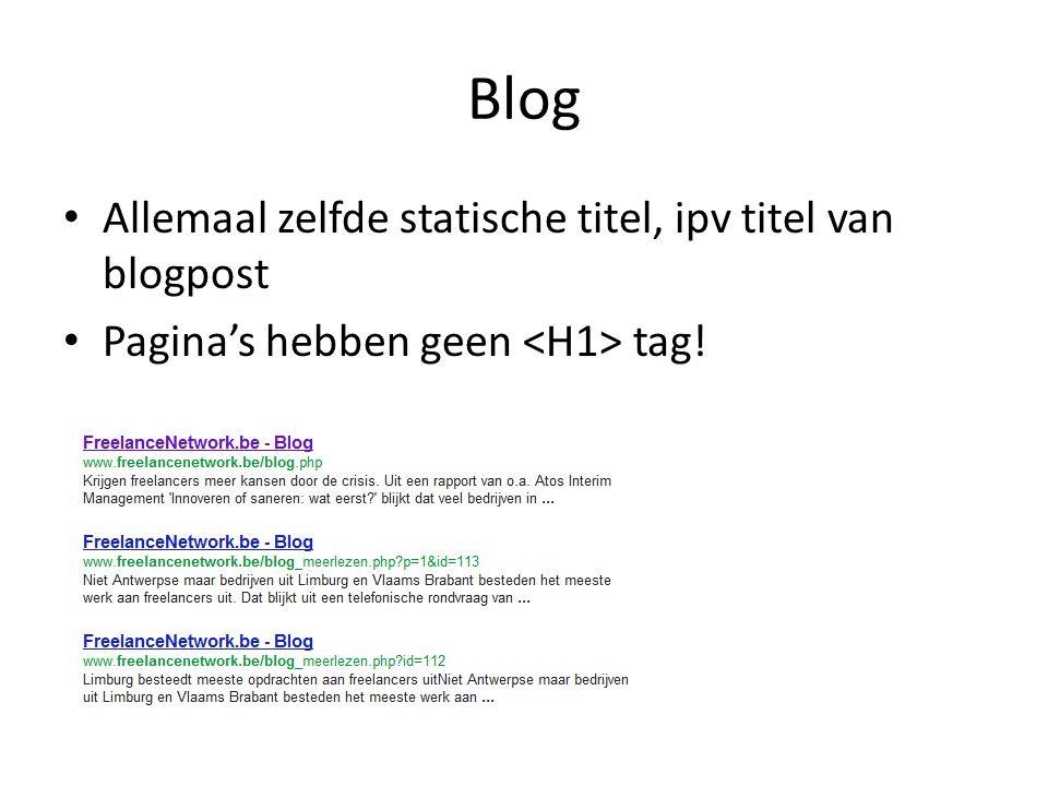 Blog Allemaal zelfde statische titel, ipv titel van blogpost Pagina's hebben geen tag!