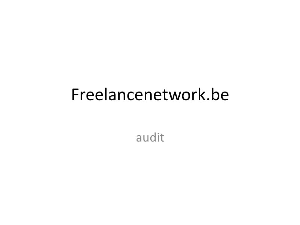 Freelancenetwork.be audit