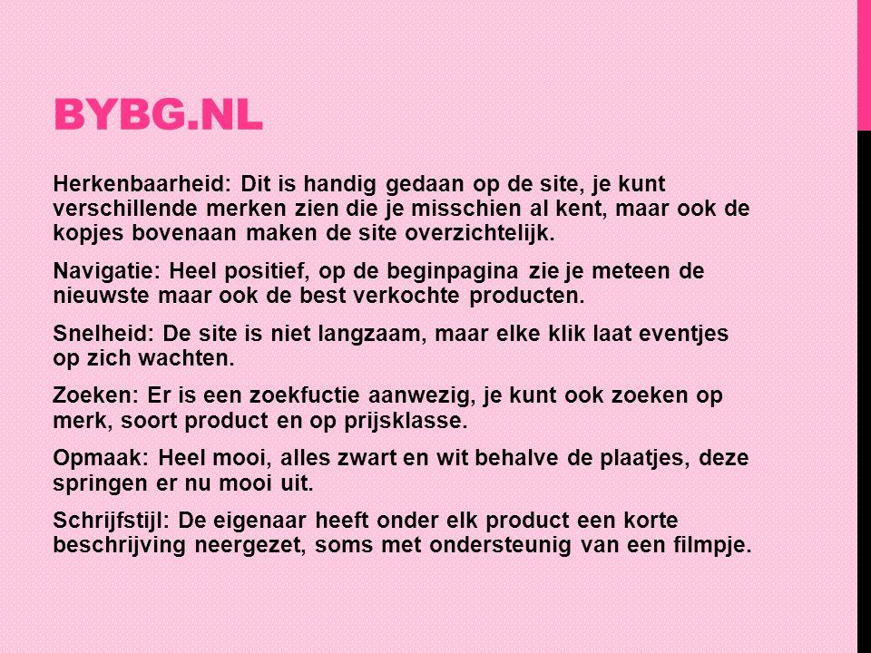 BYBG.NL Herkenbaarheid: Dit is handig gedaan op de site, je kunt verschillende merken zien die je misschien al kent, maar ook de kopjes bovenaan maken