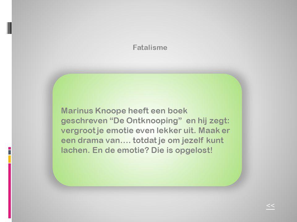 """Fatalisme Marinus Knoope heeft een boek geschreven """"De Ontknooping"""" en hij zegt: vergroot je emotie even lekker uit. Maak er een drama van…. totdat je"""