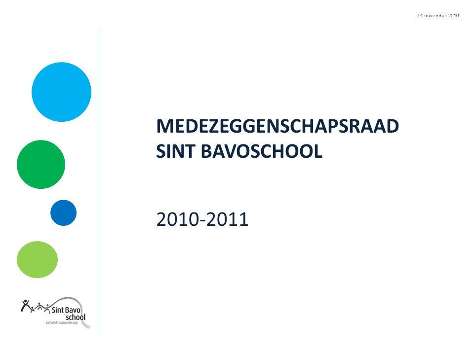 MEDEZEGGENSCHAPSRAAD SINT BAVOSCHOOL 2010-2011 14 november 2010