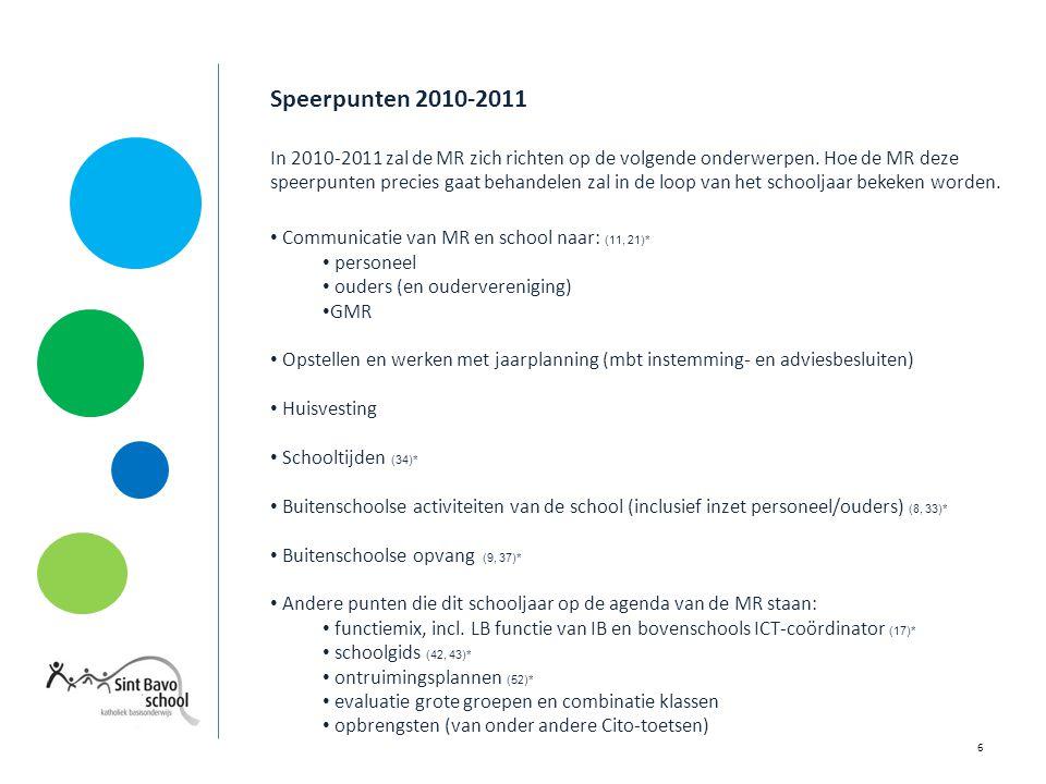 Speerpunten 2010-2011 In 2010-2011 zal de MR zich richten op de volgende onderwerpen.