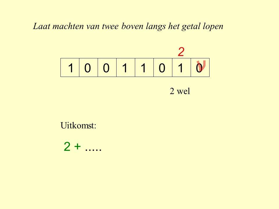 Laat machten van twee boven langs het getal lopen 10100011 2 2 wel Uitkomst: 2 +.....