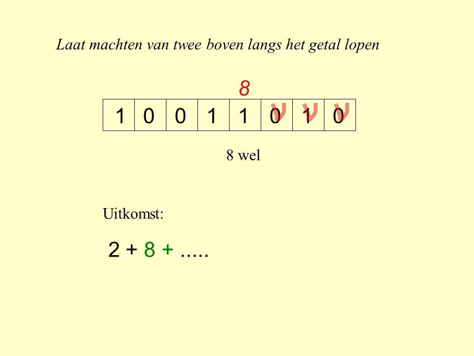 Laat machten van twee boven langs het getal lopen 10100011 8 8 wel Uitkomst: 2 + 8 +.....