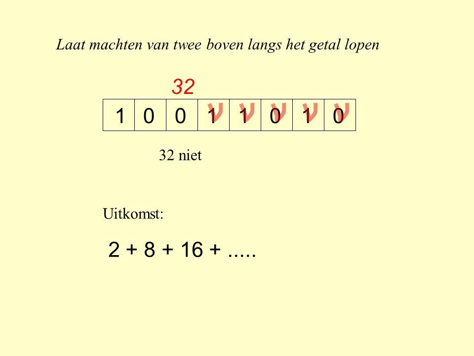 Laat machten van twee boven langs het getal lopen 10100011 32 32 niet Uitkomst: 2 + 8 + 16 +.....