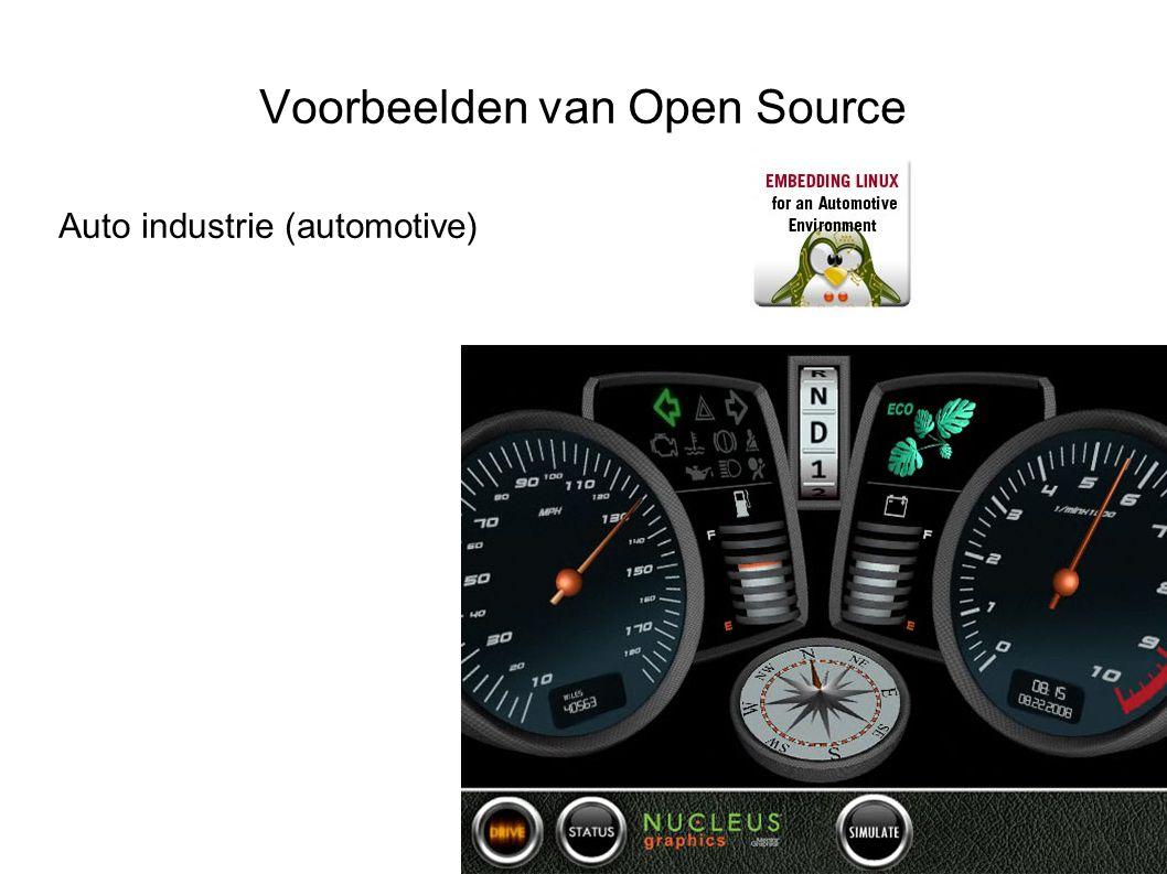 Voorbeelden van Open Source Distributies Smartphone: WebOS, Android Cliënts: Netbooks, Ubuntu, OLPC, KiWiPC Servers: RedHat, Suse, IBM Watson Embedded: Set-top boxes, routers, automotive, routeplanners