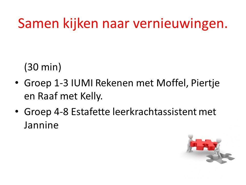Samen kijken naar vernieuwingen. (30 min) Groep 1-3 IUMI Rekenen met Moffel, Piertje en Raaf met Kelly. Groep 4-8 Estafette leerkrachtassistent met Ja