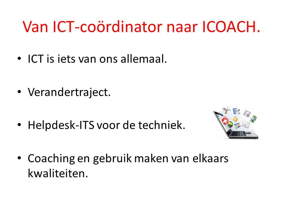 Van ICT-coördinator naar ICOACH. ICT is iets van ons allemaal. Verandertraject. Helpdesk-ITS voor de techniek. Coaching en gebruik maken van elkaars k