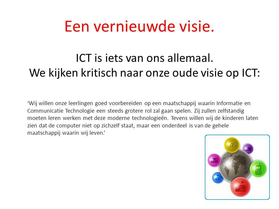 Een vernieuwde visie. ICT is iets van ons allemaal. We kijken kritisch naar onze oude visie op ICT: 'Wij willen onze leerlingen goed voorbereiden op e