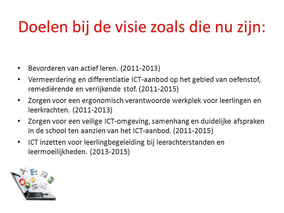 Doelen bij de visie zoals die nu zijn: Bevorderen van actief leren. (2011-2013) Vermeerdering en differentiatie ICT-aanbod op het gebied van oefenstof