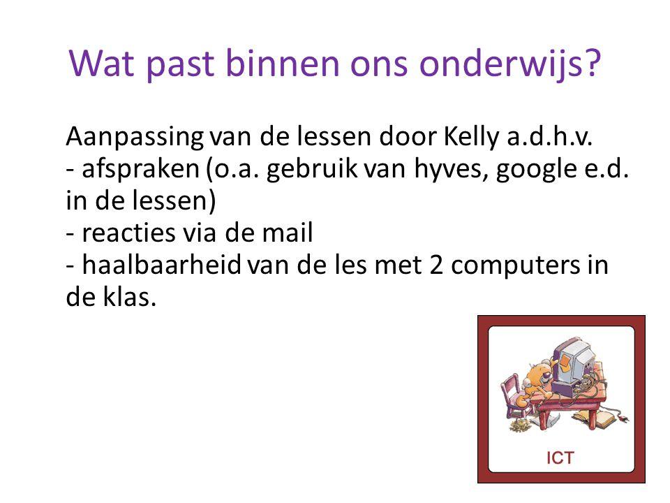 Wat past binnen ons onderwijs? Aanpassing van de lessen door Kelly a.d.h.v. - afspraken (o.a. gebruik van hyves, google e.d. in de lessen) - reacties
