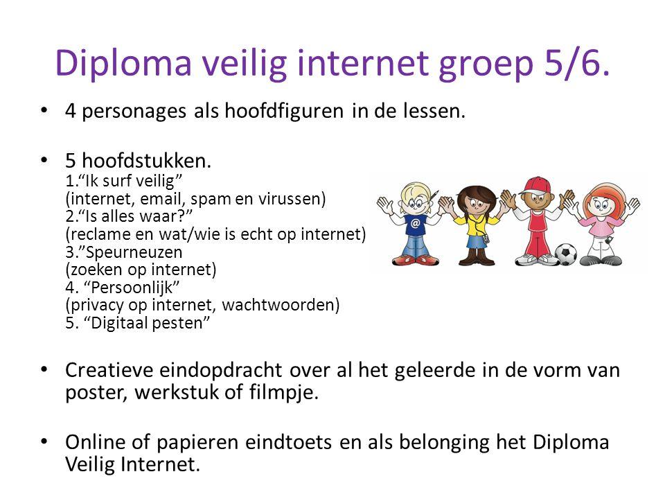 """Diploma veilig internet groep 5/6. 4 personages als hoofdfiguren in de lessen. 5 hoofdstukken. 1.""""Ik surf veilig"""" (internet, email, spam en virussen)"""