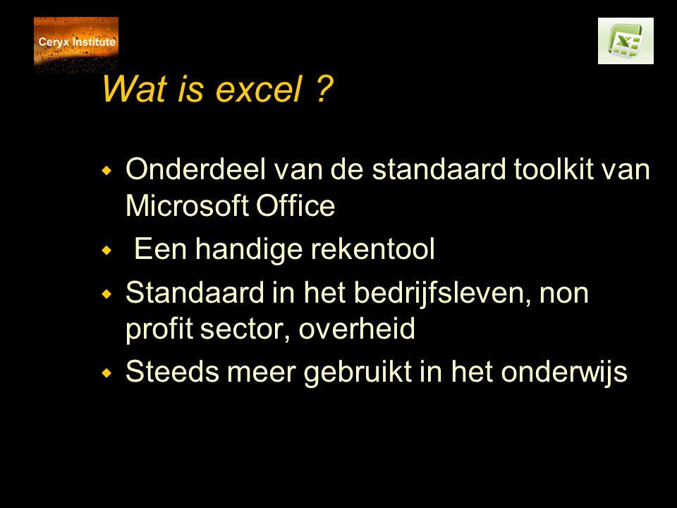 Wat is excel ? w Onderdeel van de standaard toolkit van Microsoft Office w Een handige rekentool w Standaard in het bedrijfsleven, non profit sector,