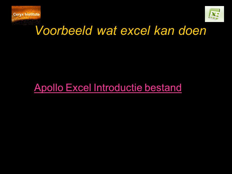 Voorbeeld wat excel kan doen Apollo Excel Introductie bestand