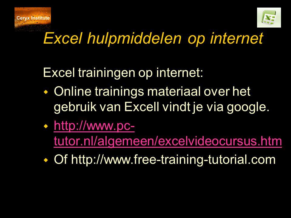Excel hulpmiddelen op internet Excel trainingen op internet: w Online trainings materiaal over het gebruik van Excell vindt je via google.