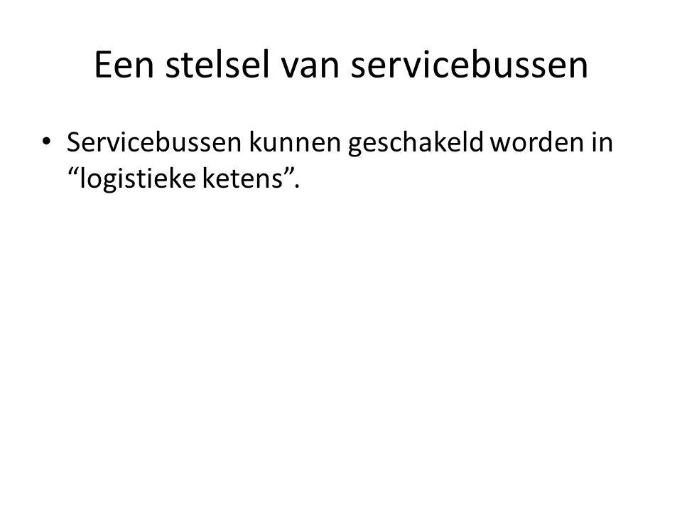 Een stelsel van servicebussen Servicebussen kunnen geschakeld worden in logistieke ketens .