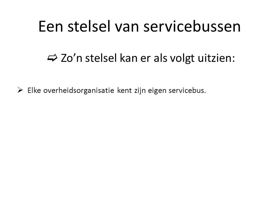 Een stelsel van servicebussen  Zo'n stelsel kan er als volgt uitzien:  Elke overheidsorganisatie kent zijn eigen servicebus.
