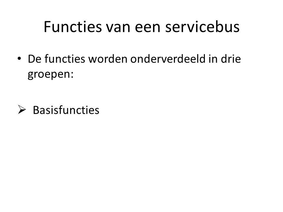 Functies van een servicebus De functies worden onderverdeeld in drie groepen:  Basisfuncties