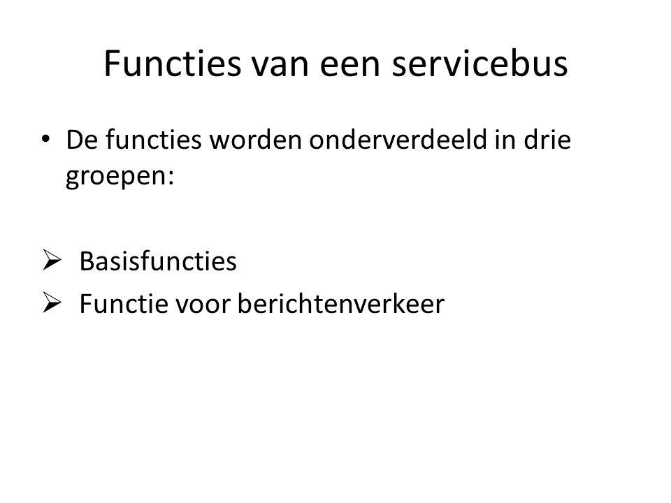 Functies van een servicebus De functies worden onderverdeeld in drie groepen:  Basisfuncties  Functie voor berichtenverkeer