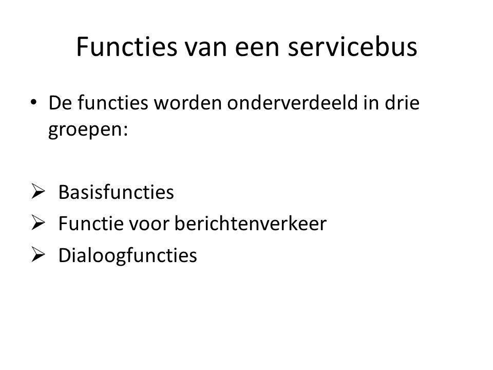 Functies van een servicebus De functies worden onderverdeeld in drie groepen:  Basisfuncties  Functie voor berichtenverkeer  Dialoogfuncties
