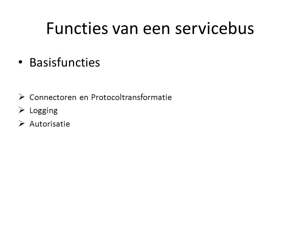 Functies van een servicebus Basisfuncties  Connectoren en Protocoltransformatie  Logging  Autorisatie
