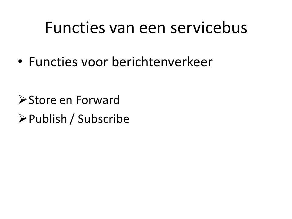 Functies van een servicebus Functies voor berichtenverkeer  Store en Forward  Publish / Subscribe