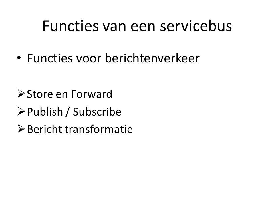 Functies van een servicebus Functies voor berichtenverkeer  Store en Forward  Publish / Subscribe  Bericht transformatie