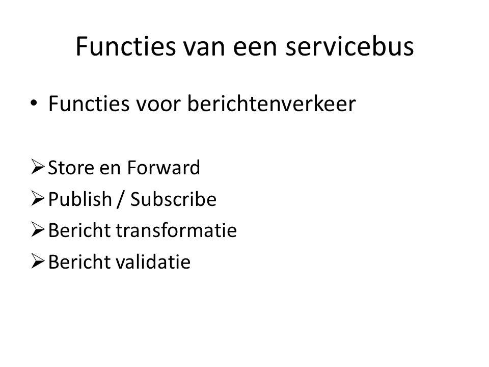 Functies van een servicebus Functies voor berichtenverkeer  Store en Forward  Publish / Subscribe  Bericht transformatie  Bericht validatie