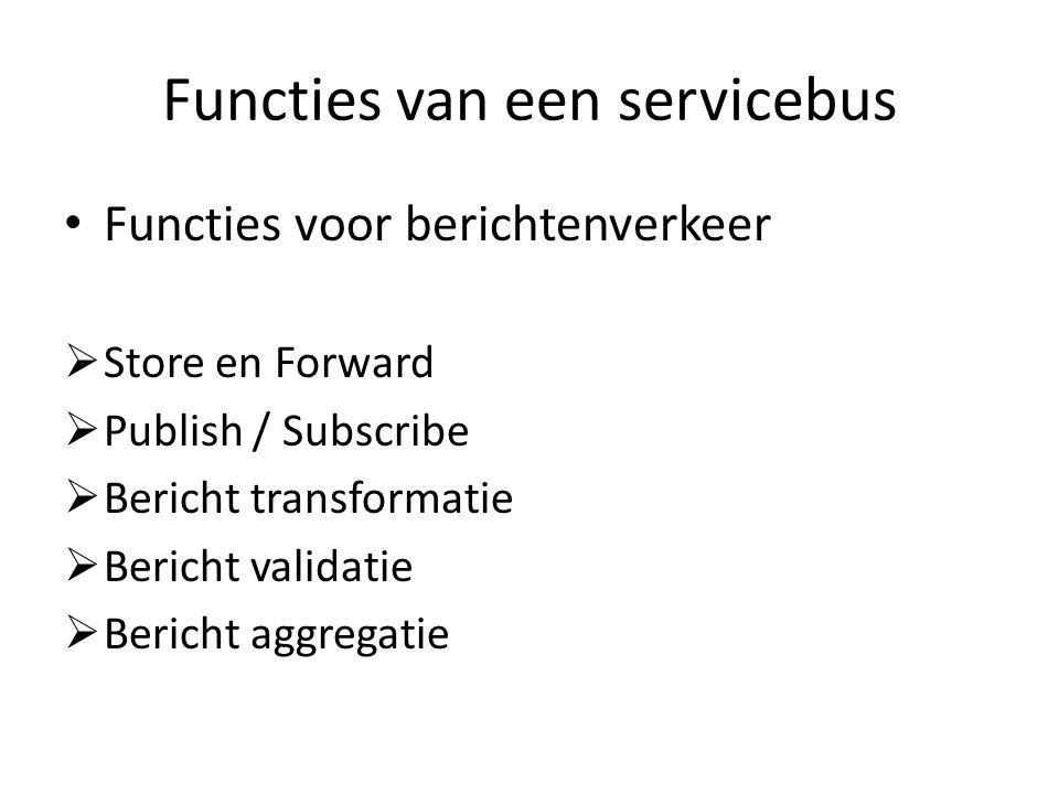 Functies van een servicebus Functies voor berichtenverkeer  Store en Forward  Publish / Subscribe  Bericht transformatie  Bericht validatie  Bericht aggregatie