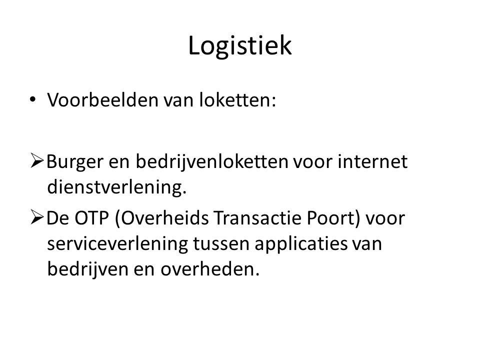 Logistiek Voorbeelden van loketten:  Burger en bedrijvenloketten voor internet dienstverlening.
