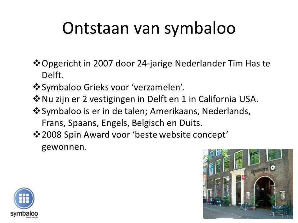 Ontstaan van symbaloo  Opgericht in 2007 door 24-jarige Nederlander Tim Has te Delft.  Symbaloo Grieks voor 'verzamelen'.  Nu zijn er 2 vestigingen