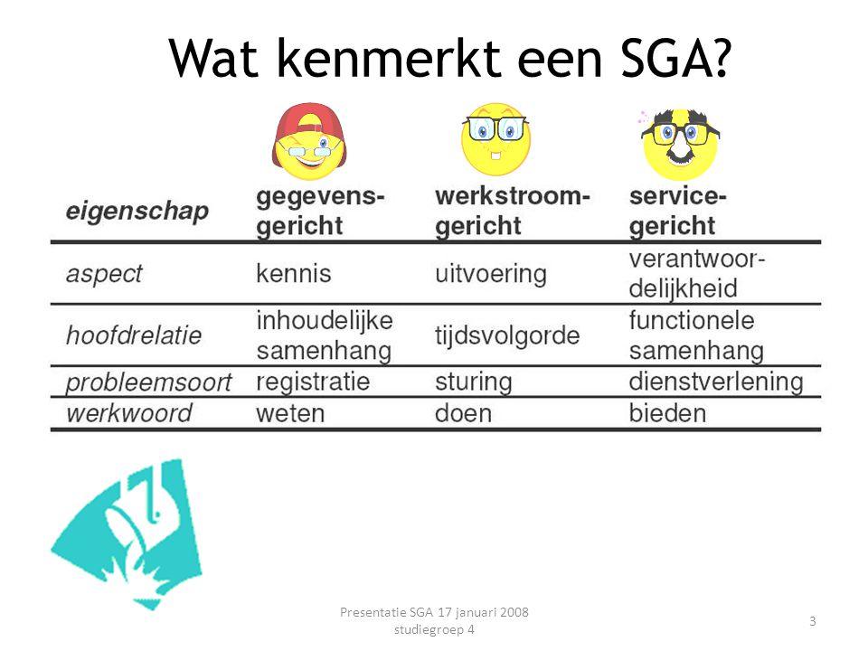 Wat kenmerkt een SGA? Presentatie SGA 17 januari 2008 studiegroep 4 3