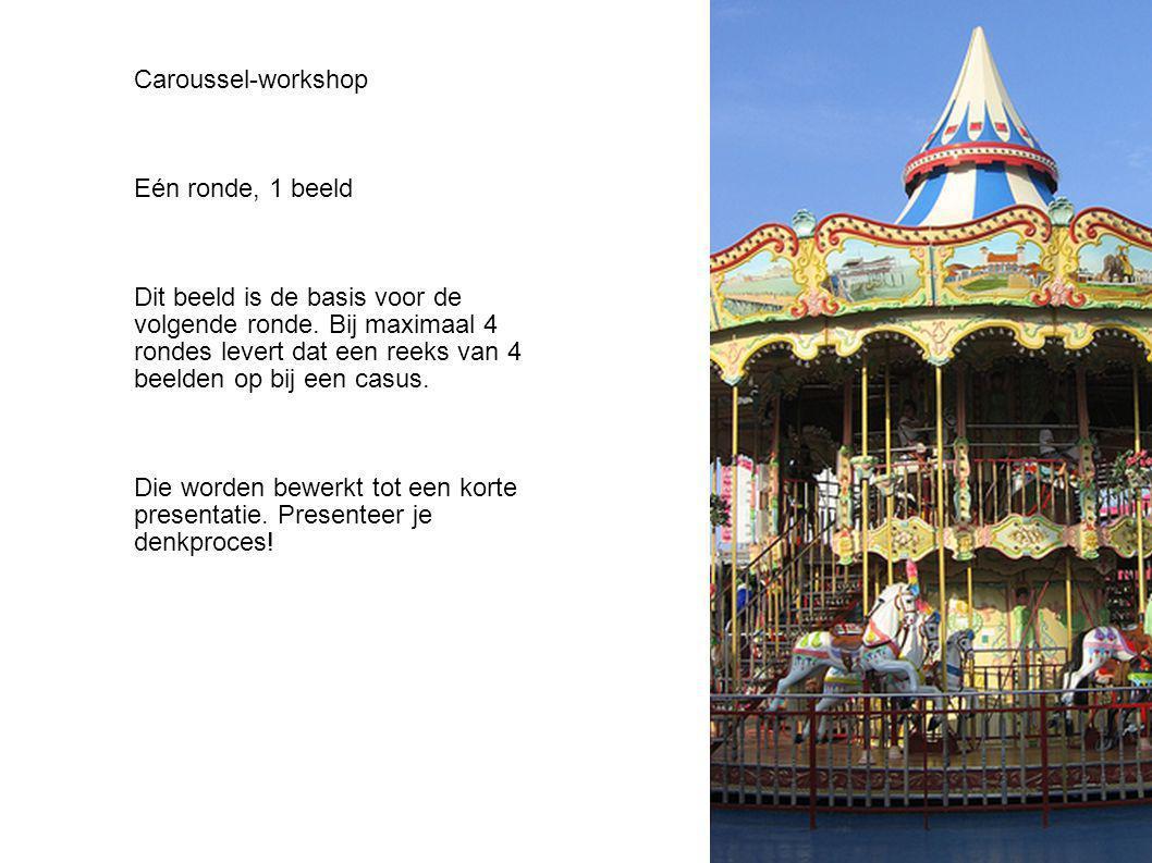 Caroussel-workshop Eén ronde, 1 beeld Dit beeld is de basis voor de volgende ronde. Bij maximaal 4 rondes levert dat een reeks van 4 beelden op bij ee