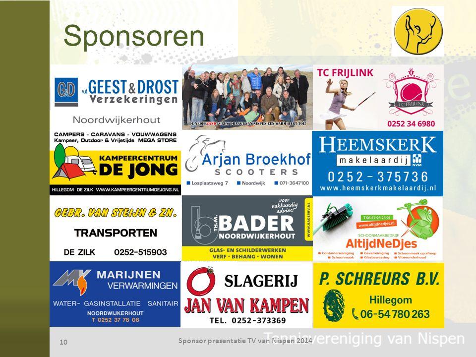 Sponsoren 10 Sponsor presentatie TV van Nispen 2014