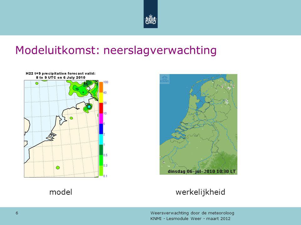 KNMI - Lesmodule Weer - maart 2012 Weersverwachting door de meteoroloog 7 Andere modelresultaten windrichting windsnelheid temperatuur dauwpuntstemperatuur bedekkingsgraad (bewolking) neerslag