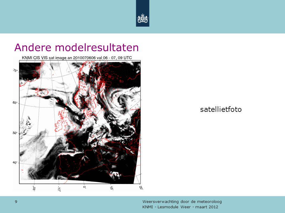 KNMI - Lesmodule Weer - maart 2012 Weersverwachting door de meteoroloog 10 Andere modelresultaten wind en luchtdruk aan de grond
