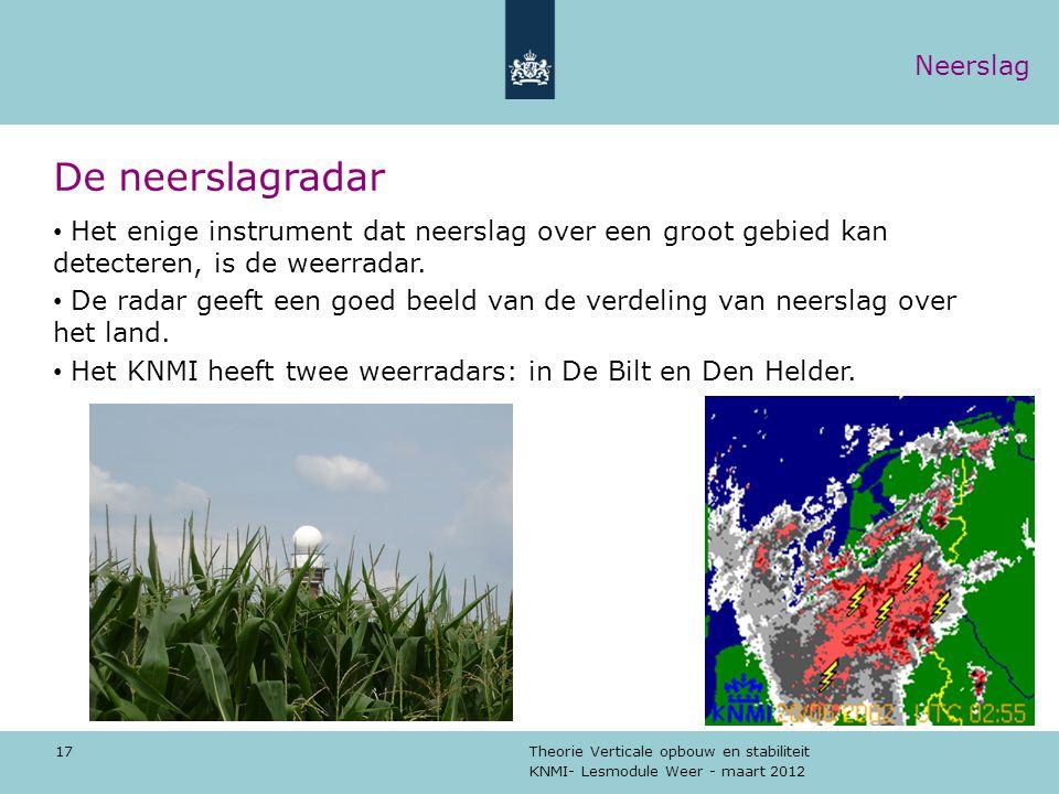 KNMI- Lesmodule Weer - maart 2012 Theorie Verticale opbouw en stabiliteit 17 De neerslagradar Het enige instrument dat neerslag over een groot gebied