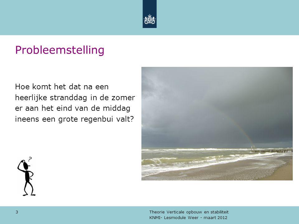 KNMI- Lesmodule Weer - maart 2012 Theorie Verticale opbouw en stabiliteit 3 Probleemstelling Hoe komt het dat na een heerlijke stranddag in de zomer e